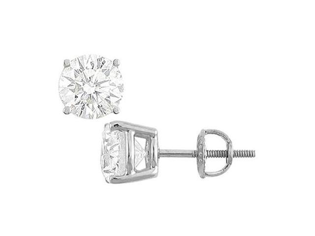 Cubic Zirconia Stud Earrings in 14K White Gold 12 Carat Totaling CZ of Triple AAA Quality