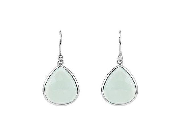 .925 Sterling Silver Fashion Aqua Chalcedony Earrings 16.00X14.00 MM