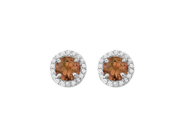 June Birthstone Smoky Quartz and Cubic Zirconia Halo Stud Earrings in Sterling Silver 2.25 CT TW