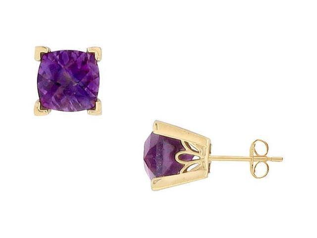 Amethyst Earrings  14K Yellow Gold - 1.25 CT TGW
