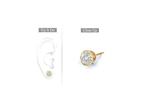 Mens 14K Yellow Gold  Bezel-Set Round Diamond Stud Earrings 0.75 CT. TW.