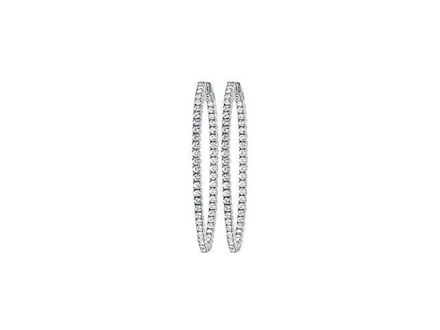 CZ 35mm Round Prong.01 Inside Out Hoop Earrings in White Rhodium over Sterling Silver