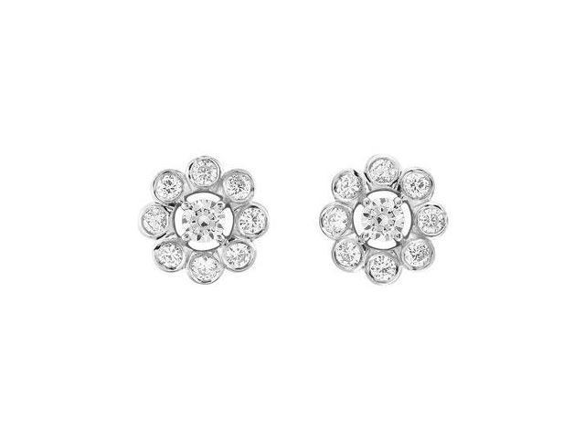 Diamond Flower Earrings  14K White Gold - 0.75 CT Diamonds