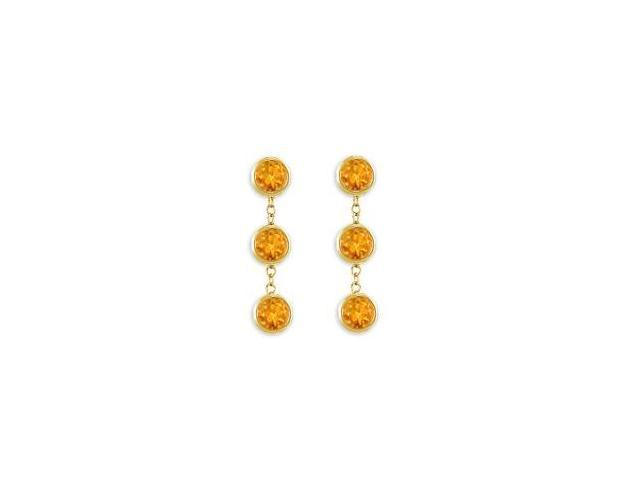 Fashion Citrine Station Earrings Six Carat Total Gem Weight Bezel Set in 14K Yellow Gold