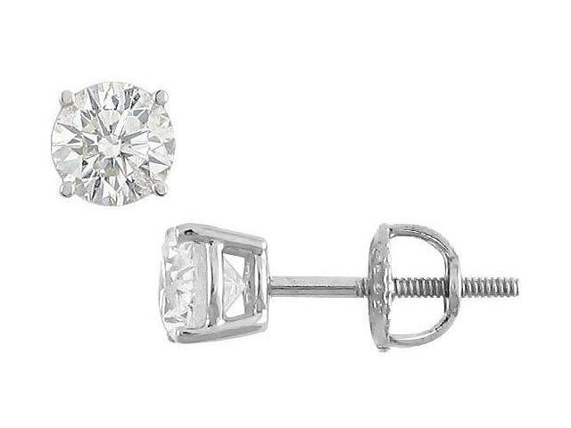 18K White Gold  Round Diamond Stud Earrings  1.00 CT. TW.