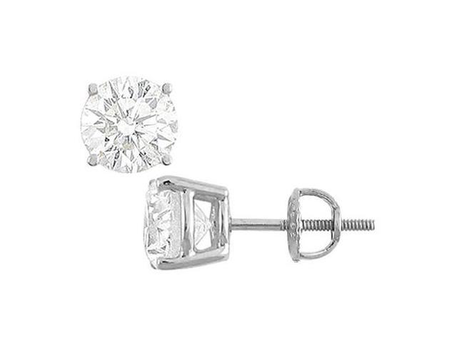 14K White Gold Round Cubic Zirconia Stud Earrings Triple AAA Quality of Totaling 15 Carat CZ