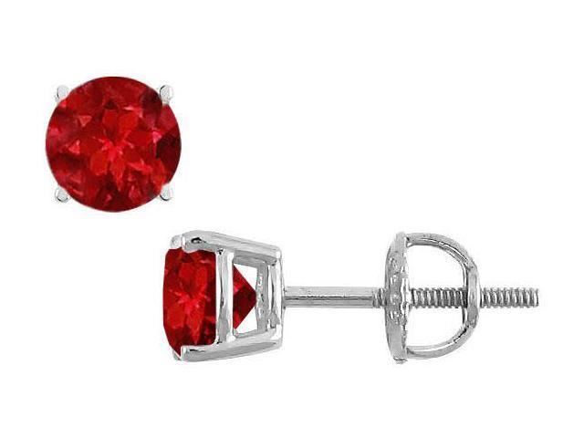 14K White Gold  Prong Set Ruby Stud Earrings 1.50 CT TGW