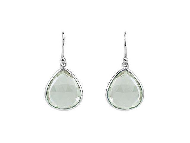 Fashion Earrings Pear Lemon Quartz in Rhodium Treated .925 Sterling Silver 16.00X14.00 MM