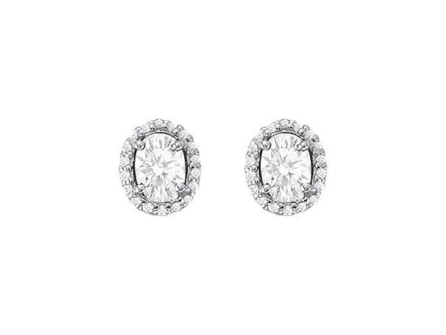 April Birthstone Cubic Zirconia Halo Stud Earrings 18kt Gold Over Sterling Silver 6.00 CT TGW