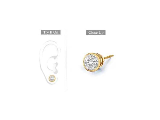 Mens 14K Yellow Gold  Bezel-Set Round Diamond Stud Earrings 1.00 CT. TW.