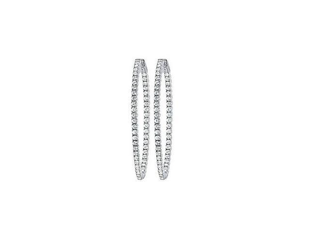 CZ 50mm Round Prong.01 Inside Out Hoop Earrings in White Rhodium over Sterling Silver