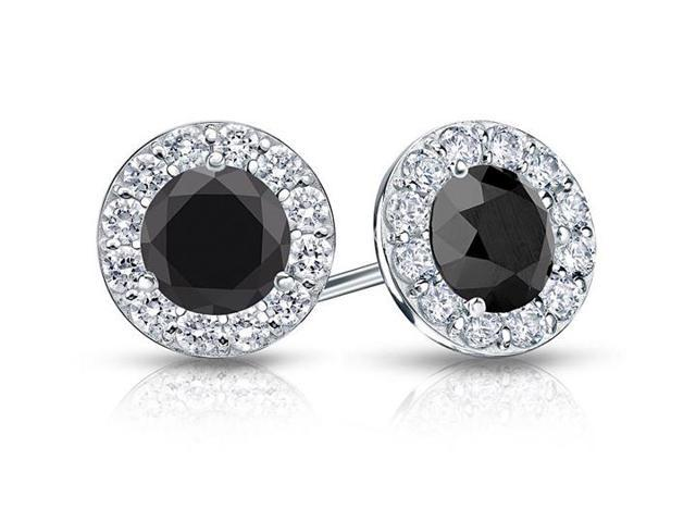 Onyx and CZ Halo Stud Earrings in 14K White Gold 1.00.ct.tw