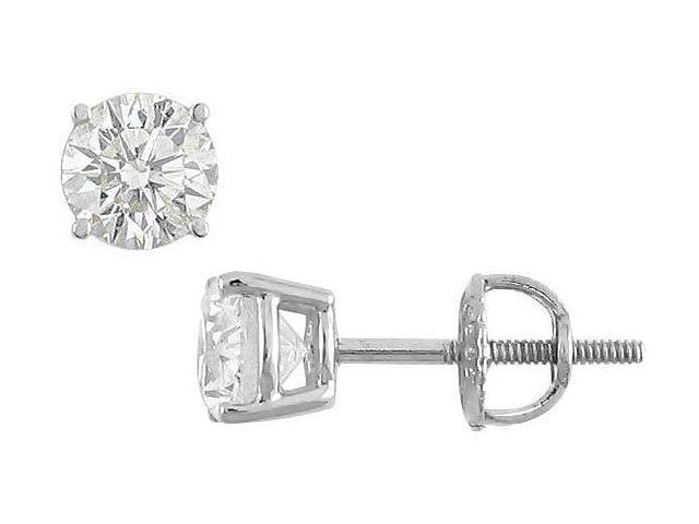18K White Gold  Round Diamond Stud Earrings  1.25 CT. TW.