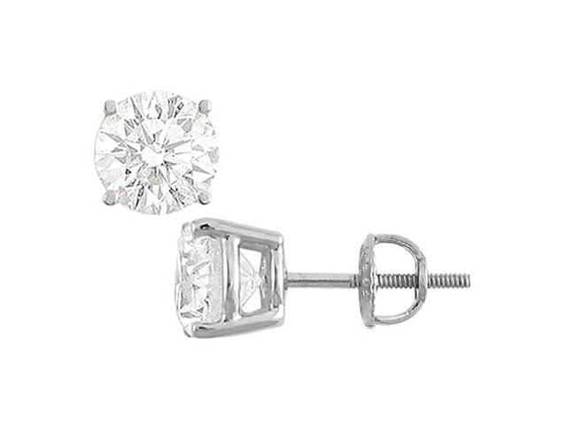 Cubic Zirconia Stud Earrings in 14K White Gold Triple AAA Quality CZ of 20 Carat Total Weight