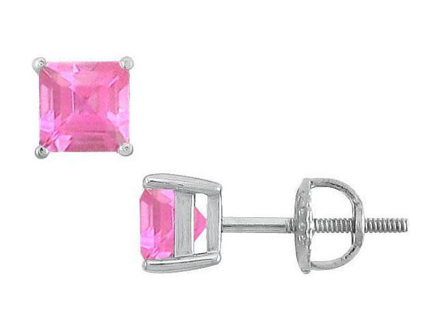 Pink Sapphire Stud Earrings  14K White Gold - 2.00 CT TGW