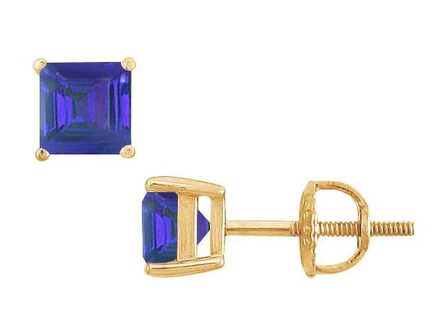Sapphire Stud Earrings  14K Yellow Gold - 2.00 CT TGW
