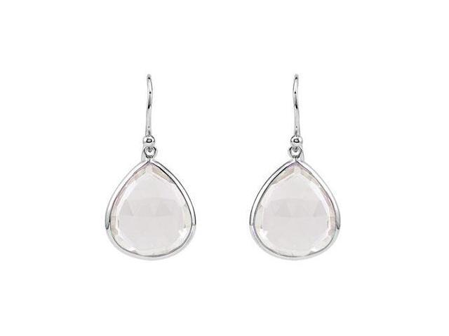 Rhodium Treated .925 Sterling Silver Pear Rose Quartz Earrings  16.00X14.00 MM