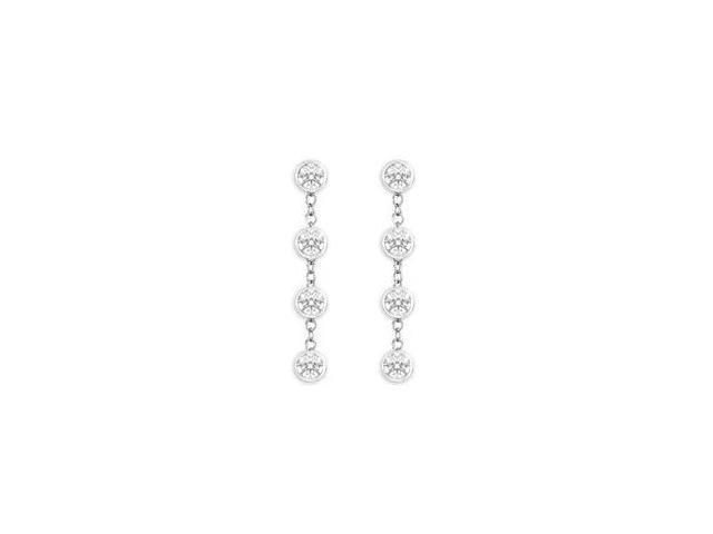 Triple AAA Quality CZ By The Yard Station Earrings in 925 Sterling Silver One Carat TGW