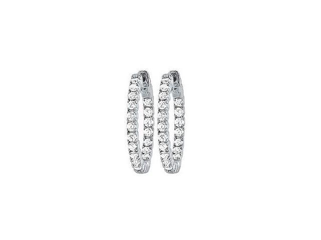 CZ 25mm Round Prong.05 Inside Out Hoop Earrings in White Rhodium over Sterling Silver