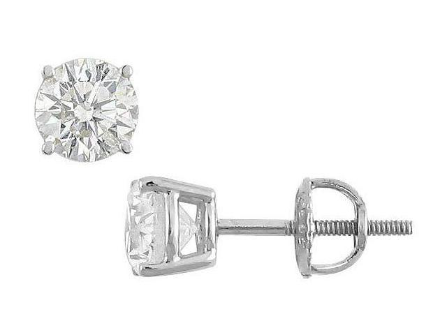 18K White Gold  Round Diamond Stud Earrings  1.50 CT. TW.