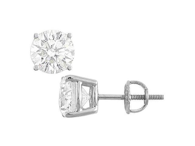 Diamond Type Brilliant Cut AAA Quality CZ Stud Earrings in 14K White Gold Total 25 Carat CZ