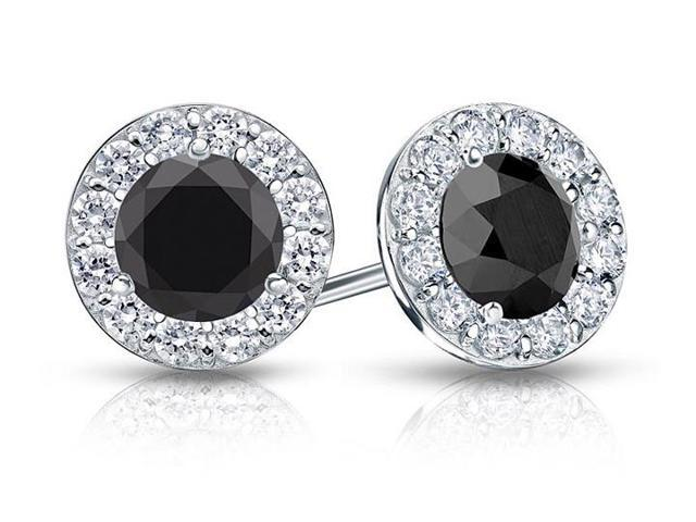 Onyx and CZ Halo Stud Earrings in 14K White Gold 1.50.ct.tw