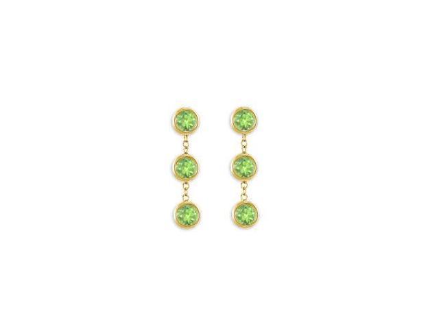 Peridot Drop Station Earrings Six Carat Total Gem Weight in 14K Yellow Gold Bezel Setting