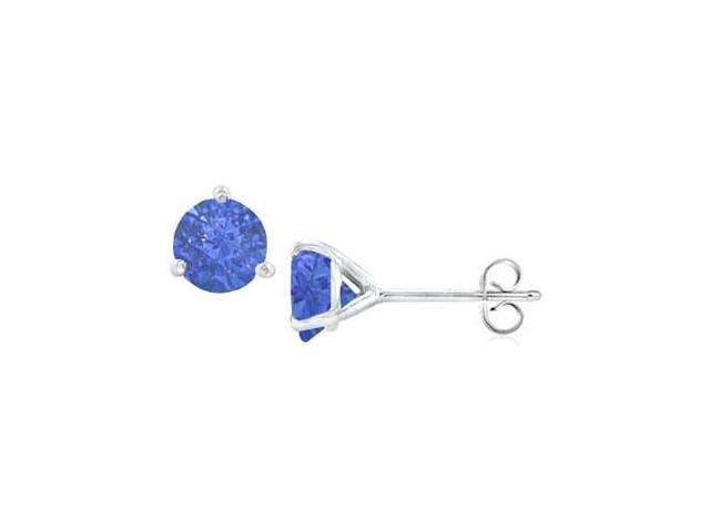 Sterling Silver Martini Style Created Sapphire Stud Earrings with 0.50 CT TGW