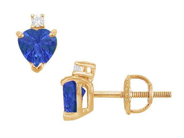 Diamond and Sapphire Stud Earrings  14K Yellow Gold - 2.04 CT TGW