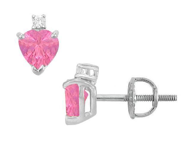Diamond and Pink Sapphire Stud Earrings  14K White Gold - 2.04 CT TGW