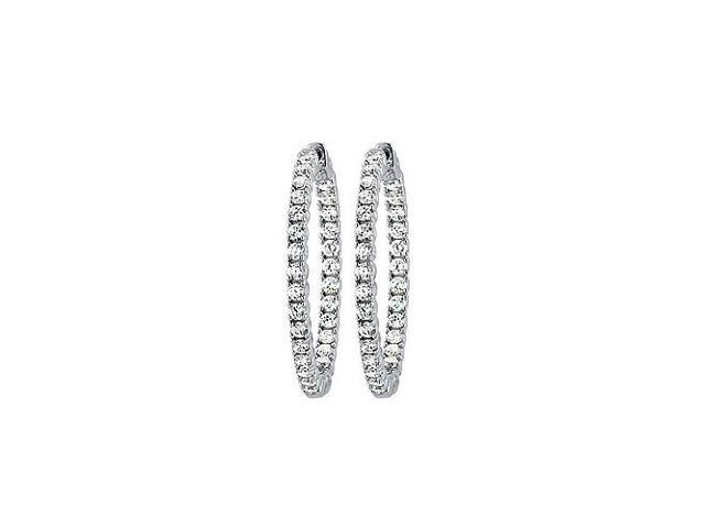 CZ 35mm Round Prong.05 Inside Out Hoop Earrings in White Rhodium over Sterling Silver