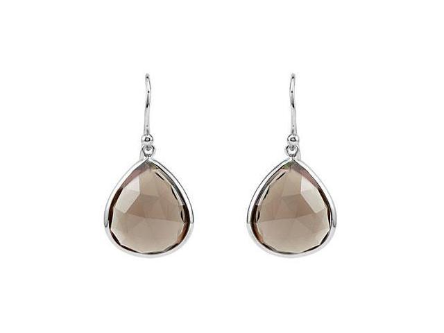 Smoky Quartz Earrings with .925 Sterling Silver 16.00X14.00 MM
