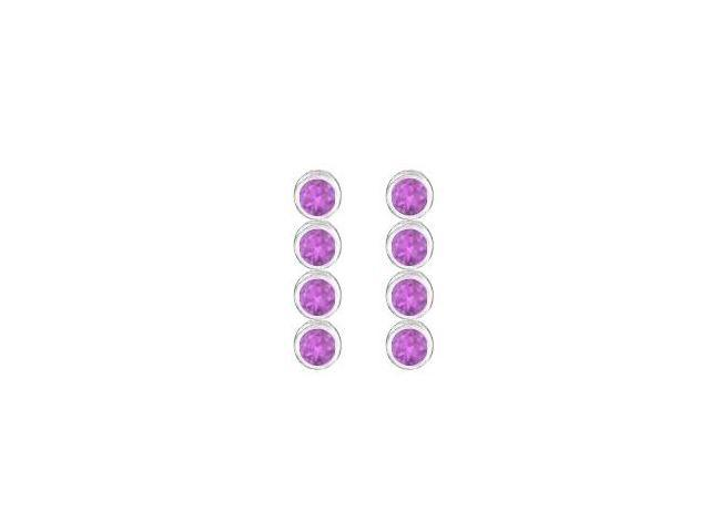 Amethyst Drop Earrings in Rhodium Plating 925 Sterling Silver Bezel Set Ten Carat TGW