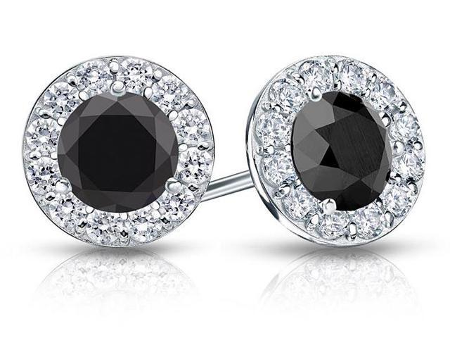 Onyx and CZ Halo Stud Earrings in 14K White Gold 2.00.ct.tw