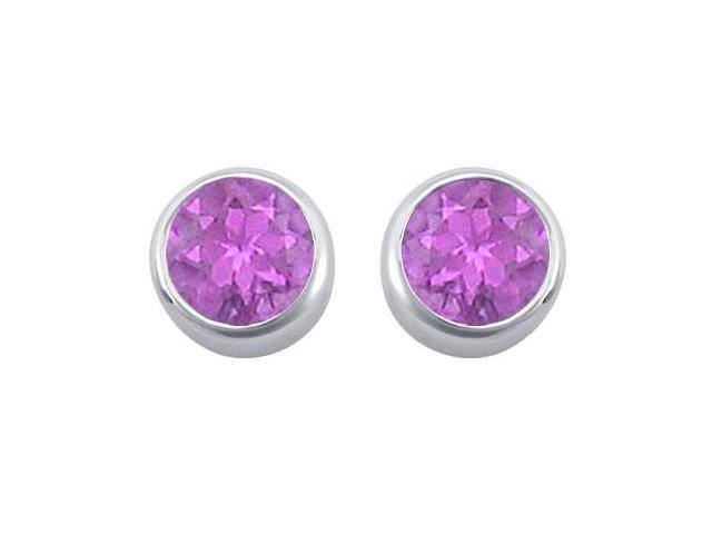 Amethyst Solitaire Stud Earrings in 14kt White Gold 2.00.ct.tgw