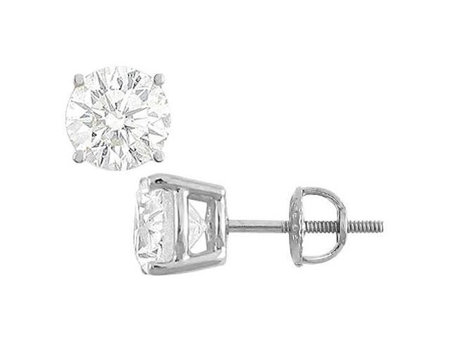 14K White Gold Cubic Zirconia Stud Earrings Triple AAA Quality CZ 35 Carat Total Gem Weight