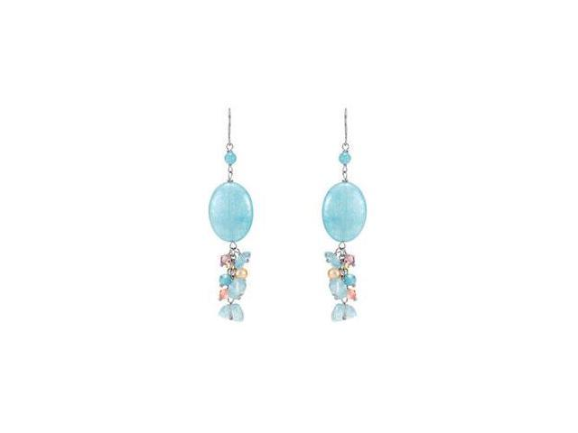 Sterling Silver in Genuine Dyed Blue Quartz Swarovski Crystal and  Pearl Earrings