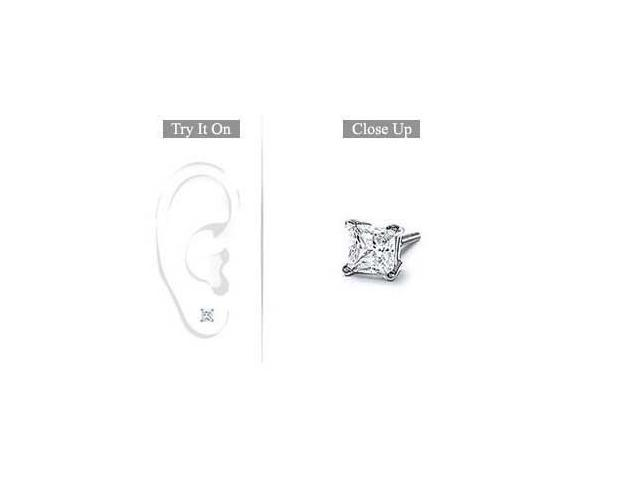 Mens 18K White Gold  Princess Cut Diamond Stud Earring  0.33 CT. TW.