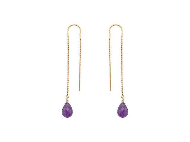 Amethyst Thread Earrings  14K Yellow Gold - 2.00 CT TGW