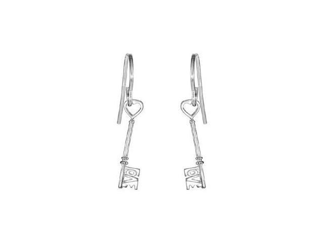 Love is the Key Dangle Earrings in Rhodium Treated .925 Sterling Silver 18.75X04.25 MM