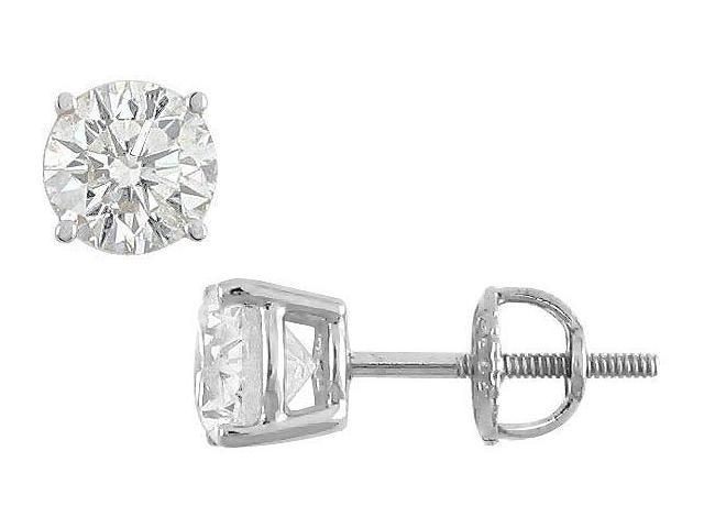 18K White Gold  Round Diamond Stud Earrings  2.00 CT. TW.