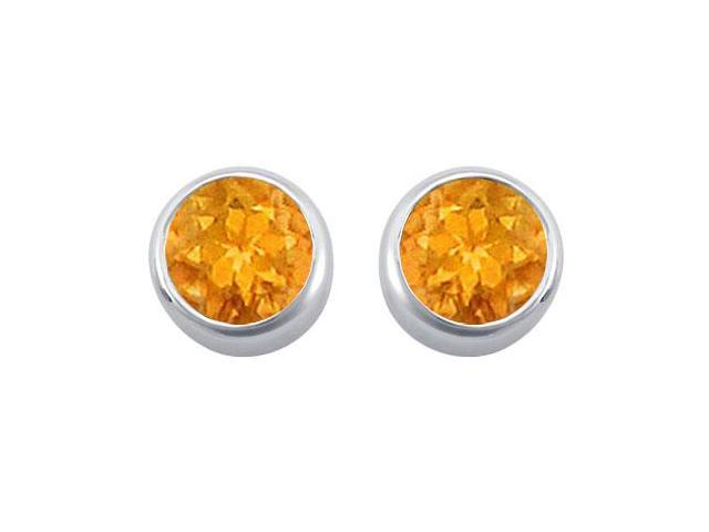 Citrine Solitaire Stud Earrings in 14kt White Gold 2.00.ct.tgw