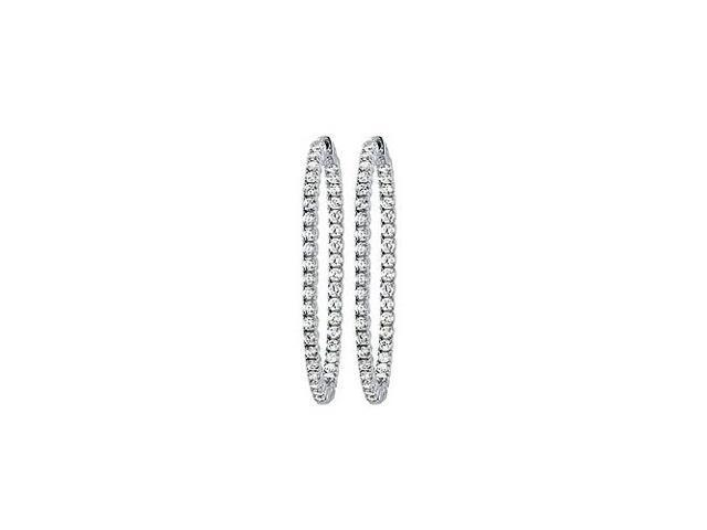 CZ 50mm Round Prong.05 Inside Out Hoop Earrings in White Rhodium over Sterling Silver