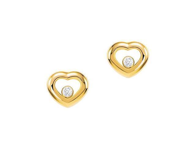 Bezel Set Diamond Floating Earrings in 18K Yellow Gold 0.20 Carat