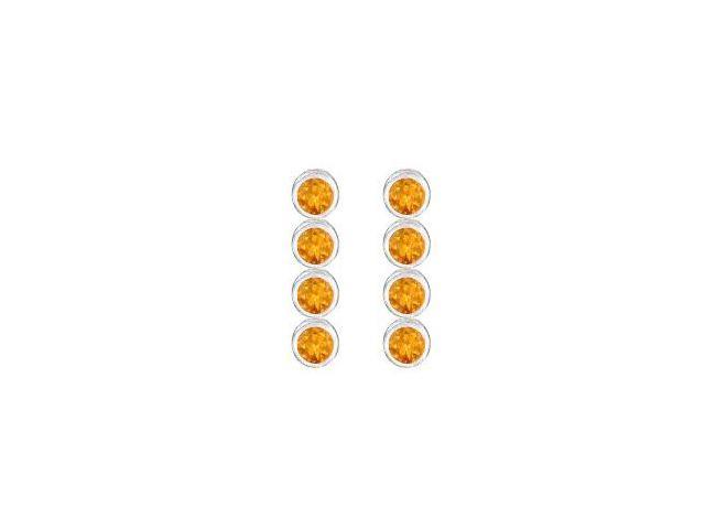 Rhodium Plating 925 Sterling Silver Bezel Set Citrine Drop Earrings with Ten Carat Total Gem Wei