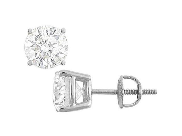 50 Carat Cubic Zirconia Stud Earrings in 14K White Gold Round Cut Triple AAA Quality CZ