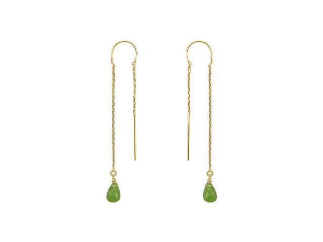 Peridot Thread Earrings  14K Yellow Gold - 2.00 CT TGW