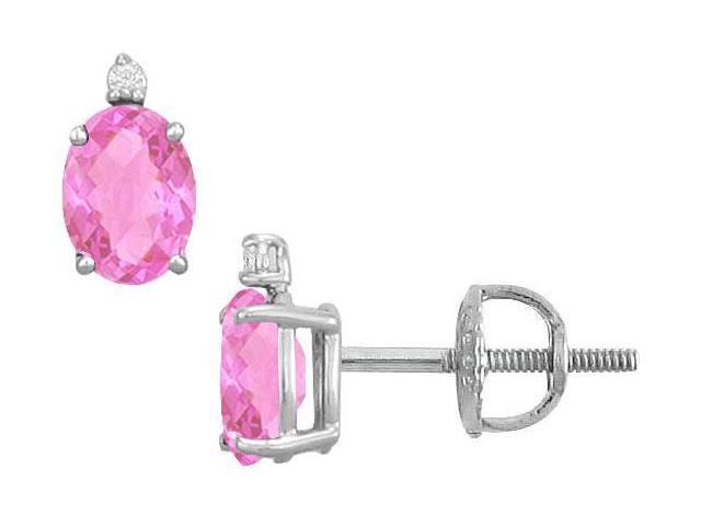 Diamond and Pink Sapphire Stud Earrings  14K White Gold - 2.04 CT TGW