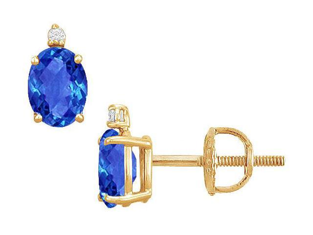 Diamond and Sapphire Stud Earrings  14K Yellow Gold - 2.04 CT TGW
