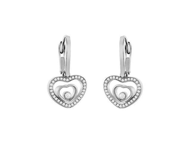 Brilliant Cut Diamond Floating Heart Earrings in 18K White Gold 1.50 Carat Diamonds